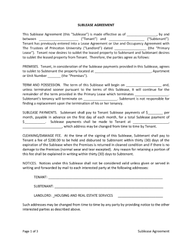 brief rental sublease agreement