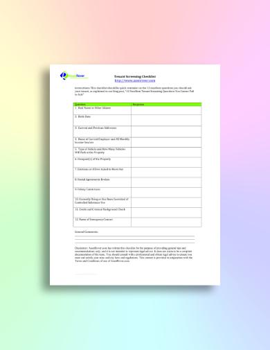 brief tenant screening checklist