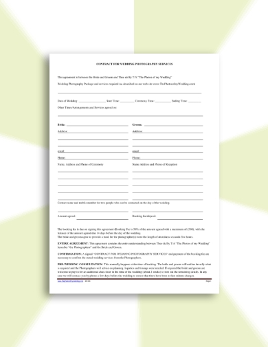 brief wedding photography contract