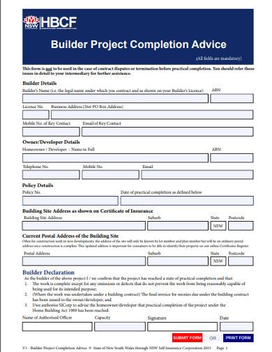 builder project work completion form