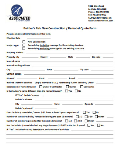 builders risk new construction quote form