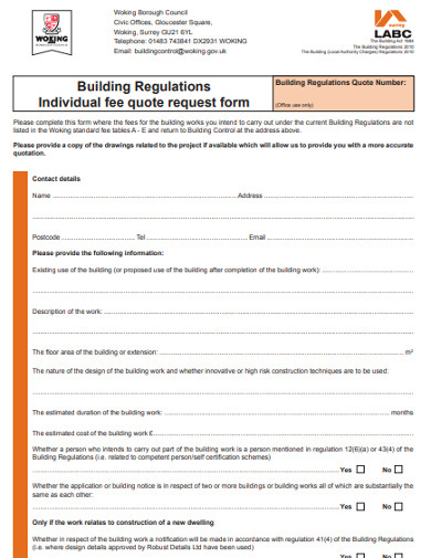 building regulations individual fee quote request form