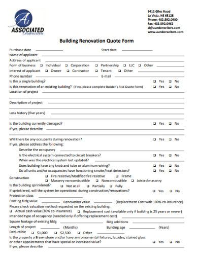 building renovation quote form