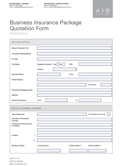 business insurance package quotation form