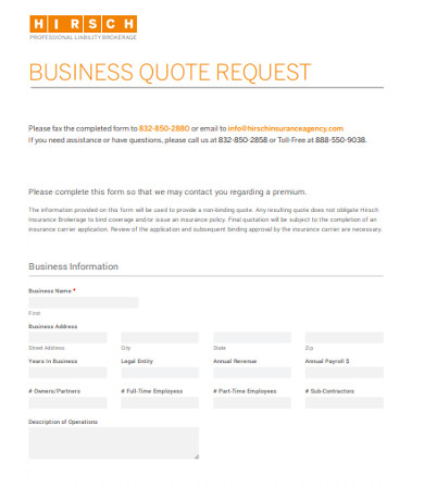 business request quote