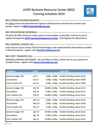 business training schedule