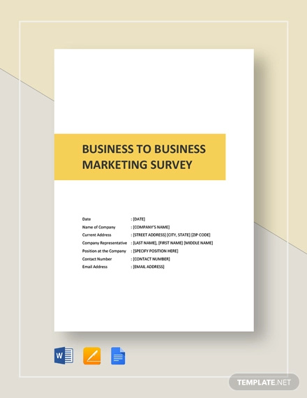 business to business market survey template
