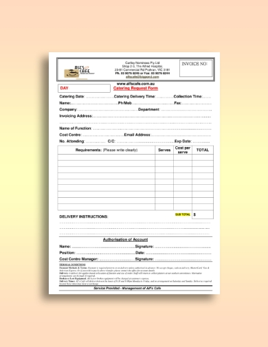cafe catering invoice request form