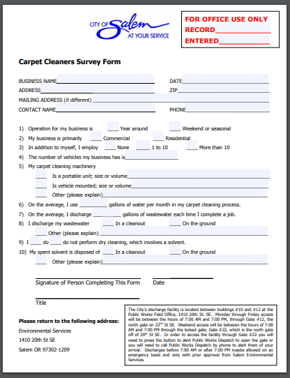carpet cleaners survey form