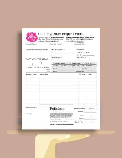 catering order request form