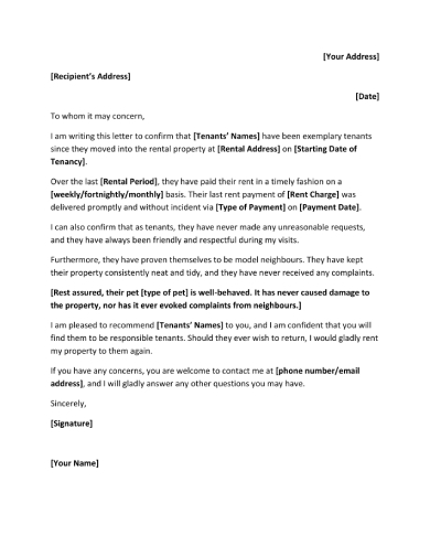 character reference letter for tenant