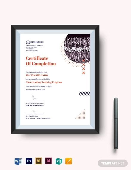 cheerleading certificate of completion template