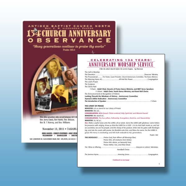 church anniversary observance program