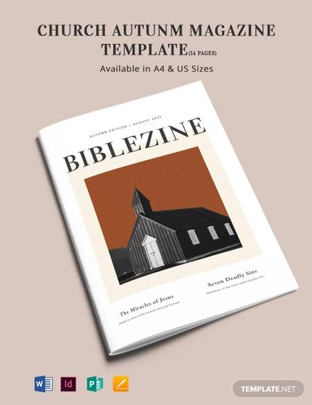 church autumn magazine template