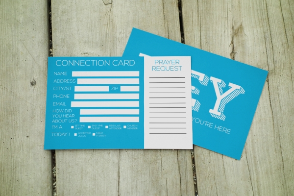 church connection and prayer request card
