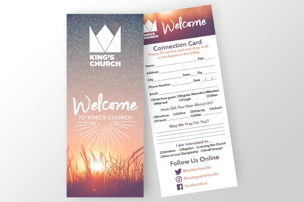 church connection and welcome card