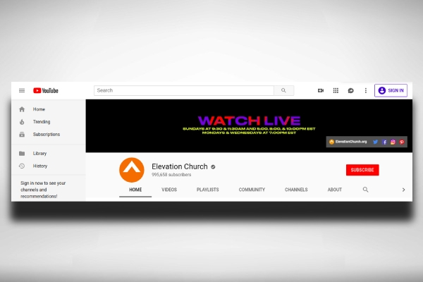 church youtube channel art with call to action