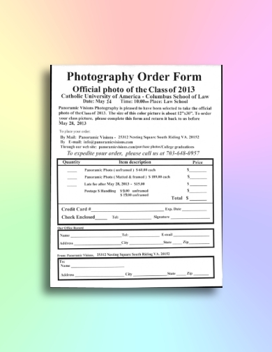 class photography order form
