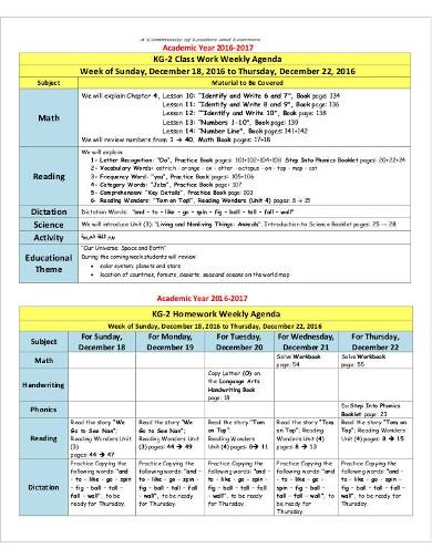class work weekly agenda