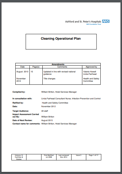 cleaning operational plan