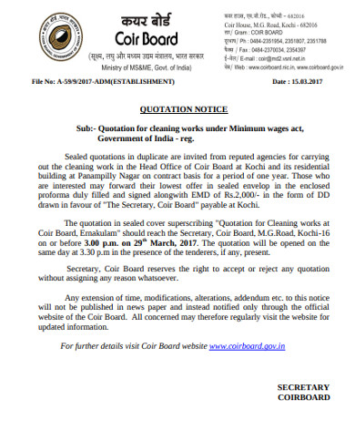 cleaning service quotation notice