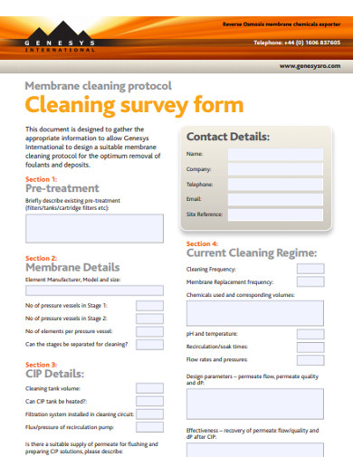 cleaning survey form