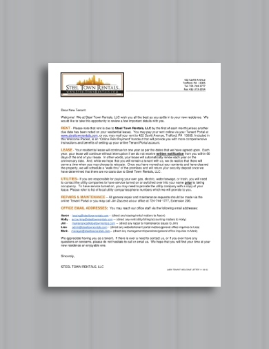 clear and concise tenant welcome letter