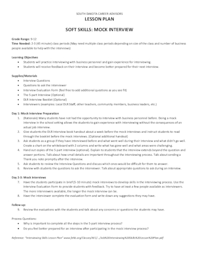 college mock interview lesson plan