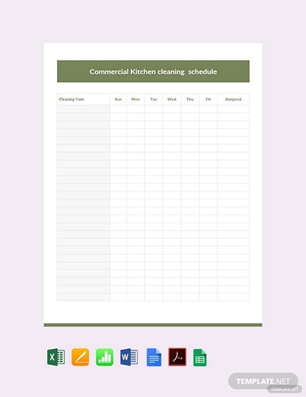 commercial kitchen cleaning schedule template