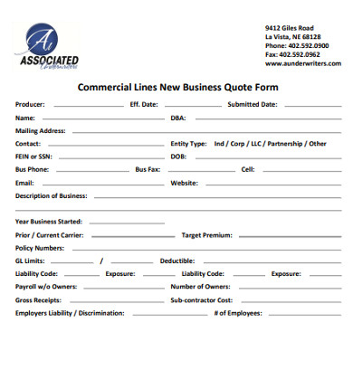 commercial lines new business quote form