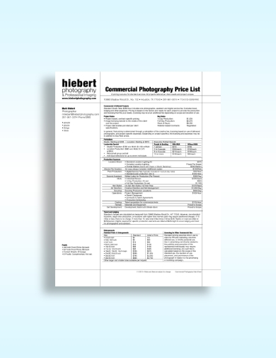 commercial photography price list