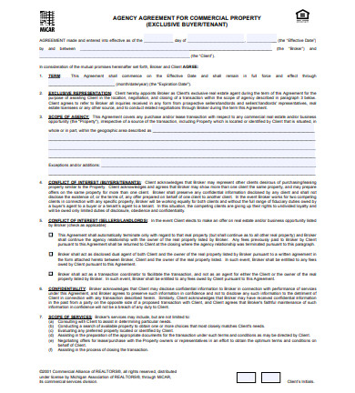 commercial property real estate agent agreement