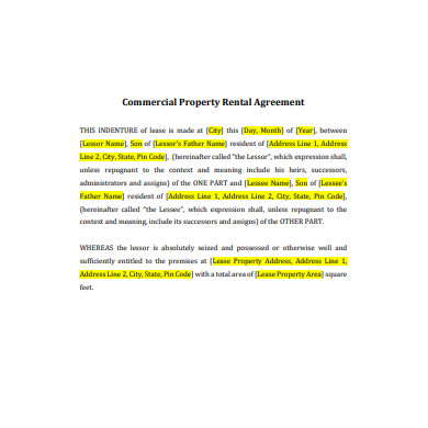 commercial property rental lease agreement