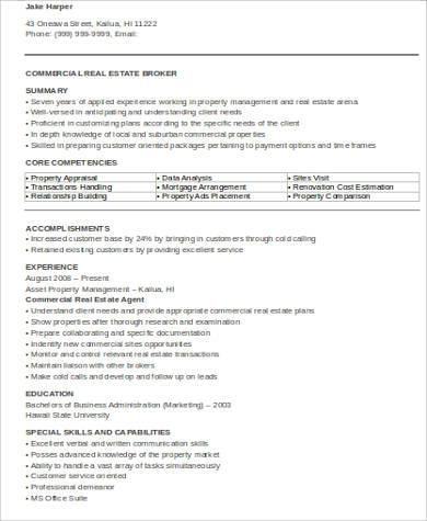 commercial real estate resume