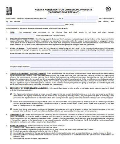 commercial real estate sales agency agreement