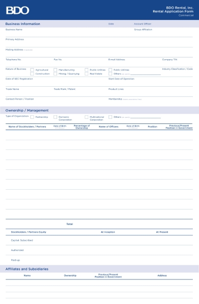 commercial space rental application form