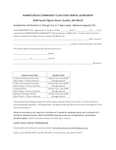 community club rental agreement