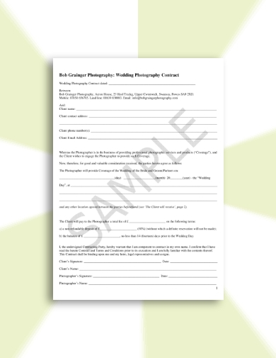 comprehensive wedding photography contract