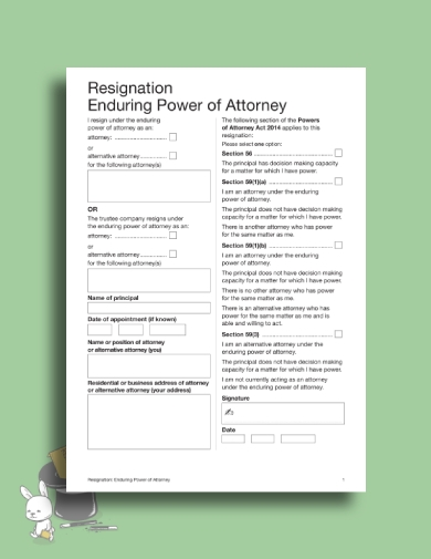 concise enduring power of attorney resignation letter