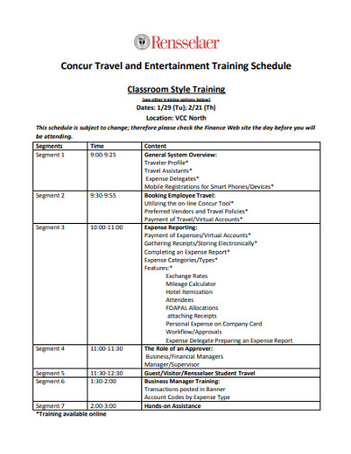concur travel entertainment training schedule
