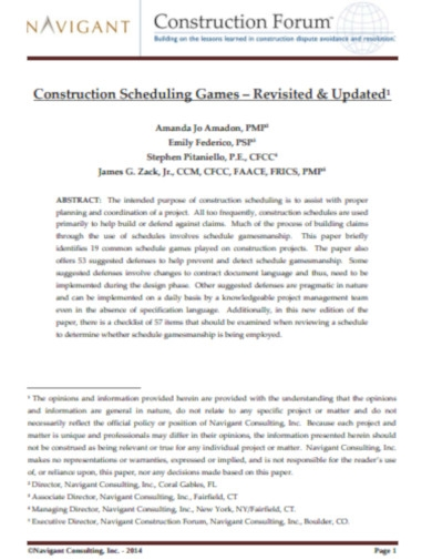 construction scheduling games
