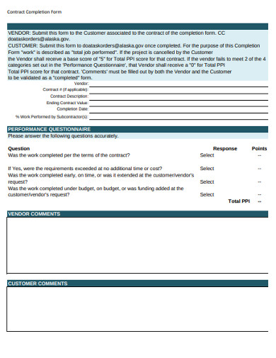 contract work completion form
