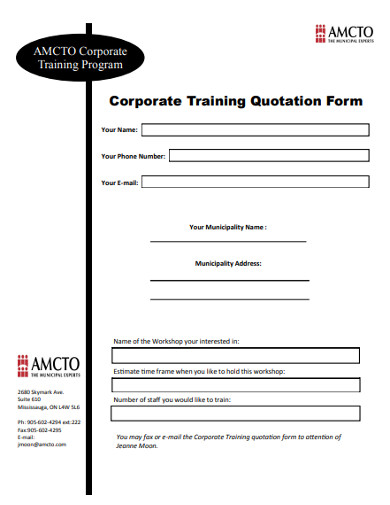 corporate training quotation form