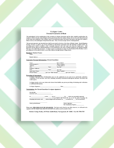 cottage rental guarantor letter