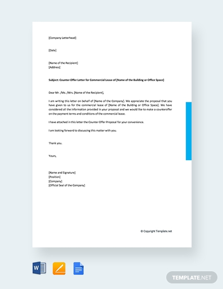 counter offer letter for commercial lease