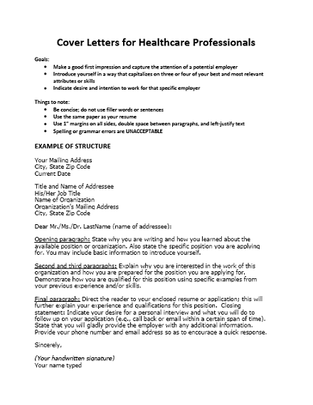 cover letter for health care professionals