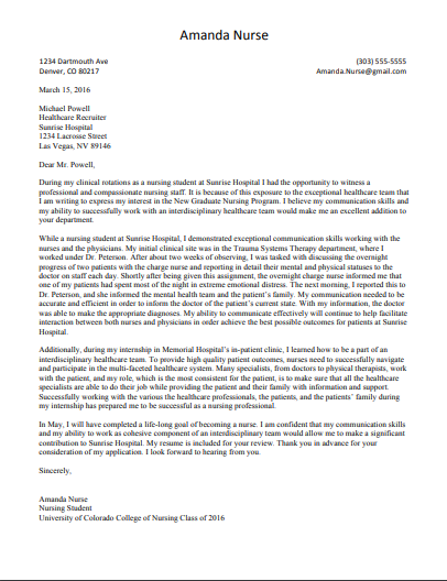 cover letter to join in a nursing program