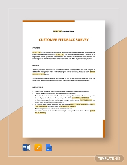 customer feedback survey template