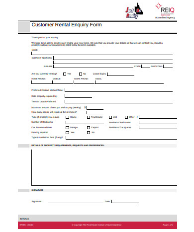 customer real estate enquiry form