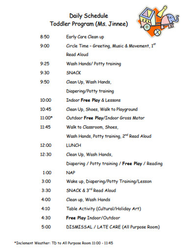 daily schedule toddler program